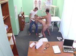 Blonde takes two cocks in hospital