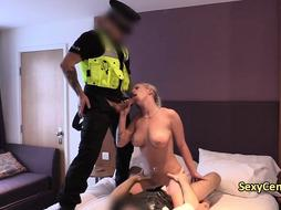 Two perv cops banging blonde gal