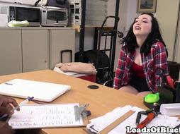 Interracial auditioning babe licks cum POV