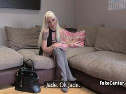 Skinny blonde fuck for job on interview