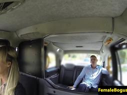 Busty female cabbie doggystyled on backseat
