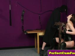 British leather babe jerks dick after bondage