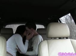 Babe eats pussy on the back seat