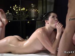 Shaved pussy babe fucks big cock masseur