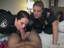Two Milf Cops are Blowing one Dick