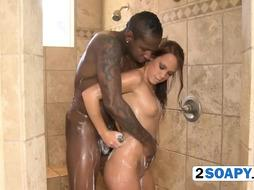 Big black penis in shower handled by warm hands