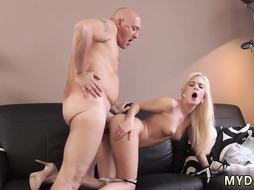 Old man first time Horny light-haired wants to attempt