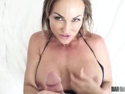 Blonde milf with big tits and deep throat