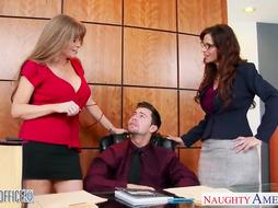 Naughty office ladies are fucking with their boss