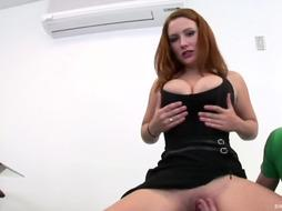 Redhaired woman is getting fucked instead of doing her job