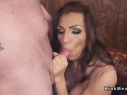 Busty tranny anal punishes husband in bar