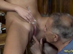 Sugar daddy cums in my pussy and old man fuck mom Can