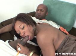 Ebony Blows on a Monster Black Cock