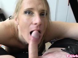 Busty police tranny cocksucking in POV