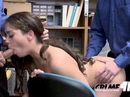Brunette blows with investigators cock