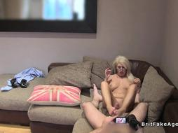 Blonde mature gives footjob to fake agent uk