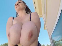 Maria Body is a curvaceous blonde lady who is proud of her massive milk jugs