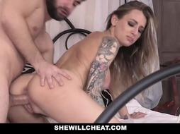 Tattooed blonde woman is cheating on her husband, with a guy who is working for him