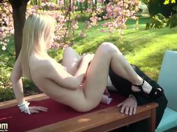 Skinny blonde bitch in high heels is getting fucked hard, by an elderly man, while outdoors
