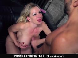Astonishing German blonde with big tits is fucking a handsome dude she has just met
