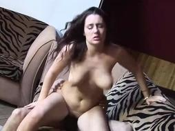 Big ass brunette with huge milk jugs is having tons of fun with three horny guys