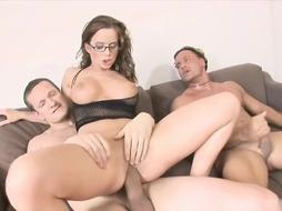 Big ass brunette is getting doublefucked in the middle of the day and enjoying it a lot