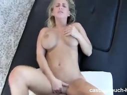 Busty blonde woman is getting banged from the back, because she likes doggy style fuck