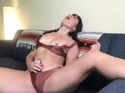 Pigtailed Babe Dildoing Her Hairy Cunt