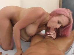 Big tited bitch is riding a horny guy's massive dick, while in front of the camera