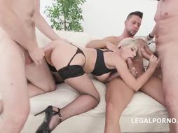 Dark-Hued dude is pulverizing a thick boobed towheaded honey, Natalie Virgin, in her living apartment