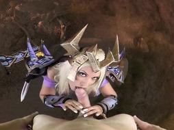 Pounding warior doll from a WhoreCraft game, Bridgette B is deep throating a rock hard boner as a mission
