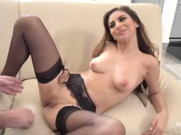 Super-Sexy housewife, Nina North luvs to put on dark-hued tights and garter belt, before boinking