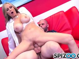 Big-Titted lady, Julia Ann is plumbing her neighbor in a switch sides cowgirl pose, just for joy
