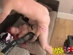 Diminutive red-haired with good knockers and pert butt gets jizz splooged