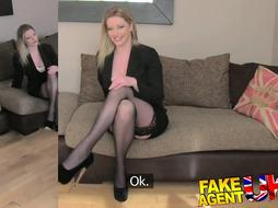 Tights clothed COUGAR gives fellatio celebrate on audition sofa
