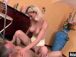 Platinum-Blonde sweetie leaps on a meaty bone