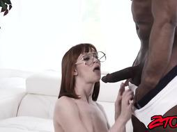 Mischievous ginger-haired Alexa Nova receives ball sack deep BIG BLACK COCK approach