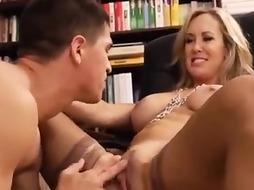 Thick breasted, light-haired instructor is having fuck-fest with her college girl, in her office, during a coffee break