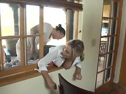 Platinum-Blonde girl got stuck in the window so her neighbors used an chance to ravage her