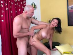 Naked woman is getting banged after work