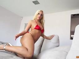Girl with blonde hair is fucked
