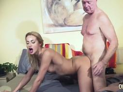 Sexy babe is fucking an old man