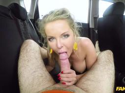 Blonde lady likes to fuck a horny taxi driver