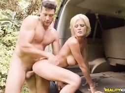 Hot blonde mom is fucking outside