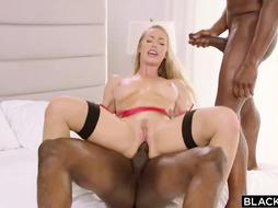 Nicole loves 2 hot black cocks at the same time