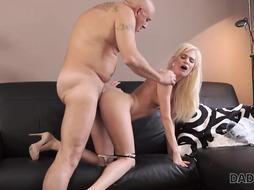 Blonde babe is having wild sex