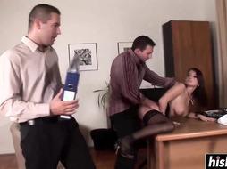 Hot secretary is having sex in the office
