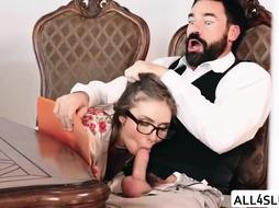 Blonde woman is fucking her boss at the work