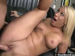 Sexy blonde woman is fucking a guy