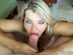 Naughty lady with boobs likes to blow